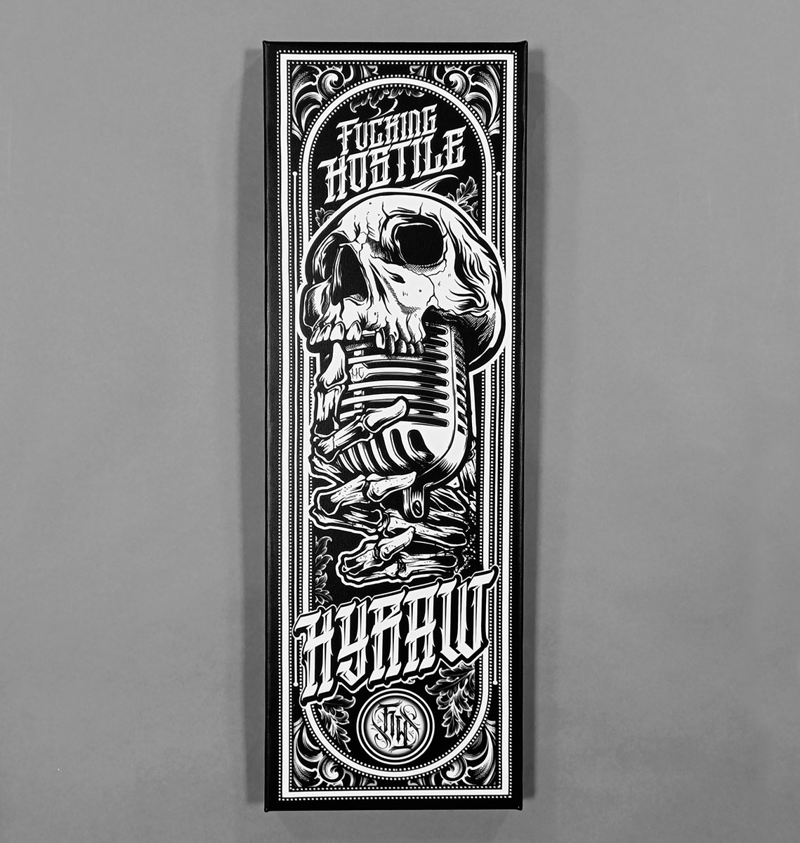 TOILE 20X60CM EVIL RECORD BLACK