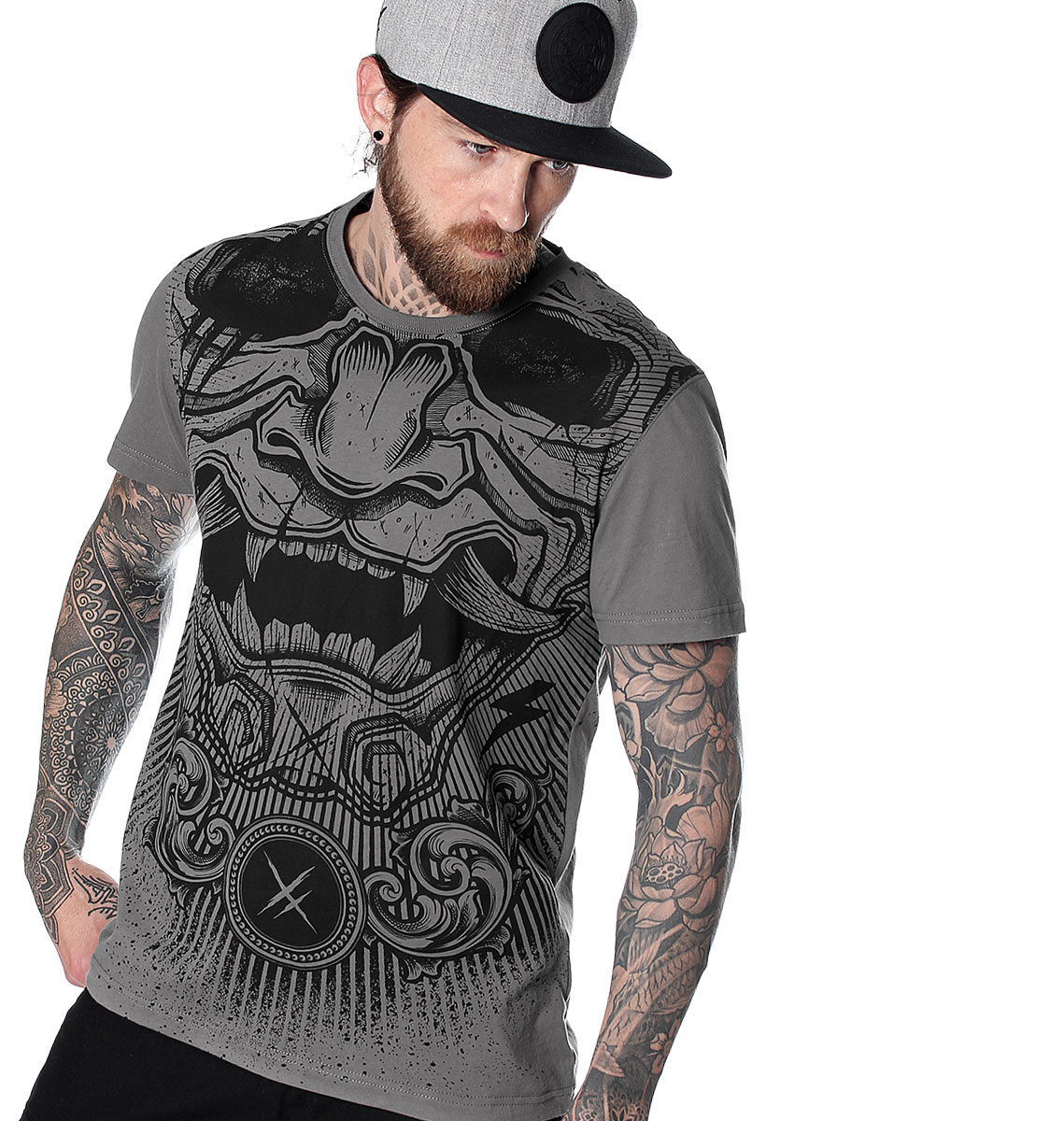 T-SHIRT HOMME GREY MASK